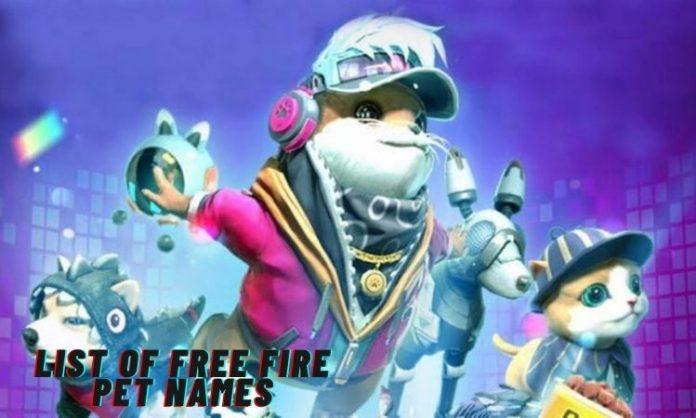free fire pet names